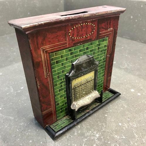 RARE 1920s TINPLATE THERMO X MONEY TIN. Fireplace