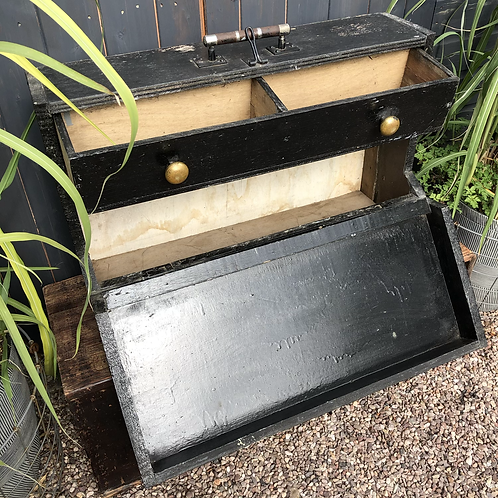 LARGE VINTAGE WOODEN TOOLBOX WITH DRAWER