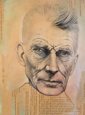 portrait of Samuel Beckett, in ballpoint pen and on hand textured paper