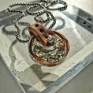 STEAMPUNK ROUND RECTANGLE RESIN AND LEATHER PENDANT