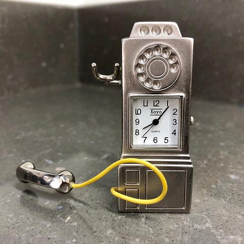 MINIATURE METAL TELEPHONE SHAPED CLOCK
