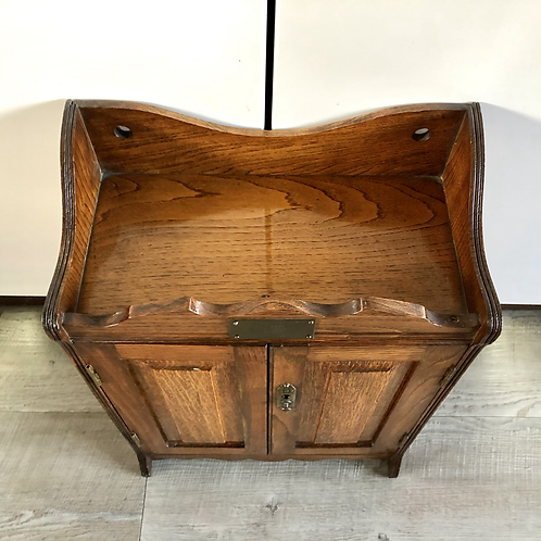 1927 OAK PIPE CABINET WITH 2 DRAWERS