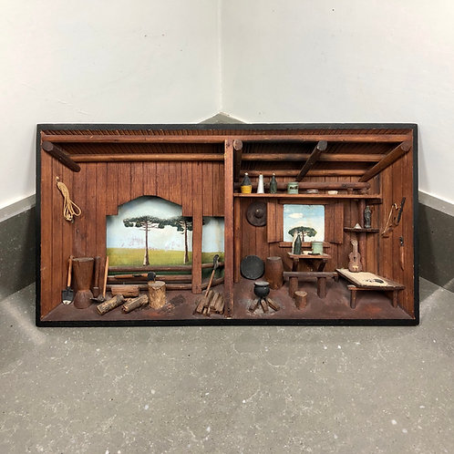 LARGE VINTAGE WOODEN DIORAMA SHADOW BOX