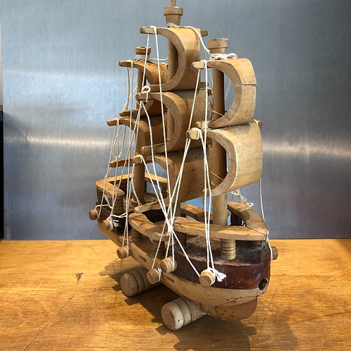 VINTAGE FOLK ART HANDMADE WOODEN SAILING BOAT SHIP. Needs some TLC
