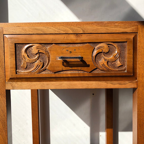 ART NOUVEAU VENEER OCCASIONAL TABLE WITH DRAWER