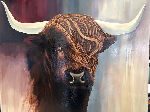 ORIGINAL ACRYLIC ON CANVAS PAINTING HIGHLAND COW