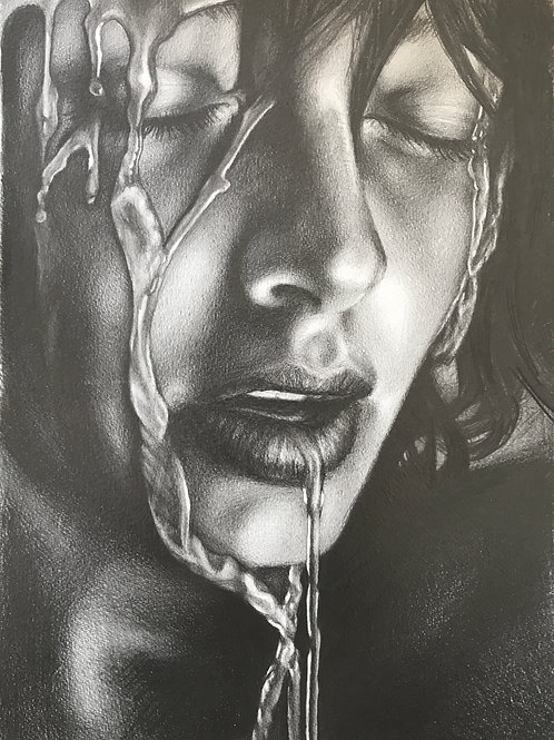 LTD EDITION ART PRINT PENCIL DRAWING OF GIRL WITH WET FACE