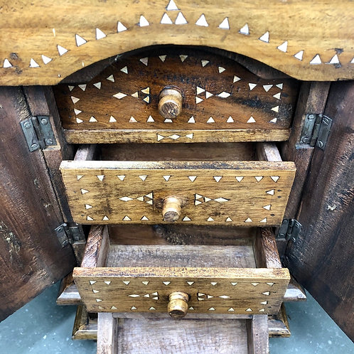 VINTAGE WOODEN JEWELLERY CABINET. Shell inlay