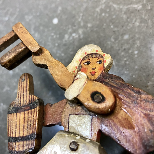 VINTAGE HANDMADE WOODEN MECHANICAL ARTWORK