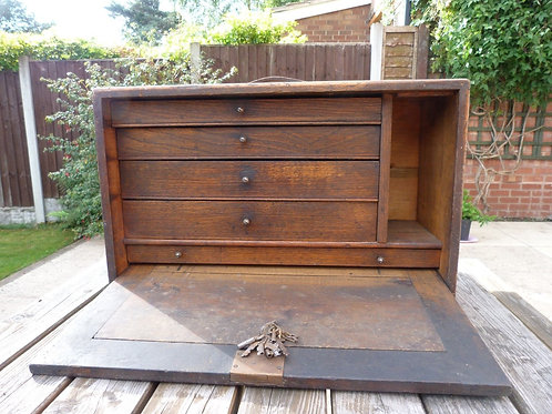 VINTAGE WOODEN TOOLBOX WITH KEYS