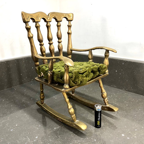 VINTAGE LARGE SCALE MINIATURE BRASS ROCKING CHAIR