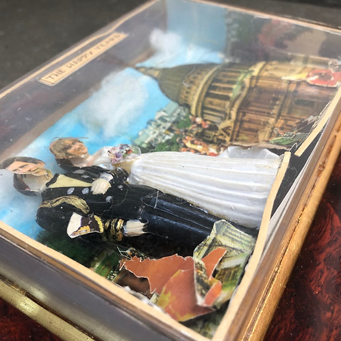 WEIRD VINTAGE 3D COLLAGE SHADOW BOX. Charles & Diana