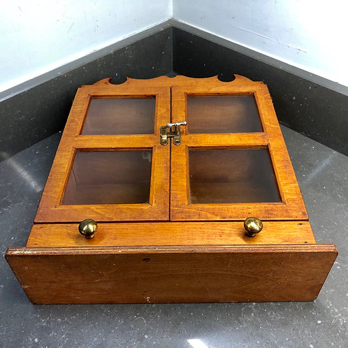VINTAGE MINIATURE RUSTIC DISPLAY CABINET WITH TWO DRAWERS