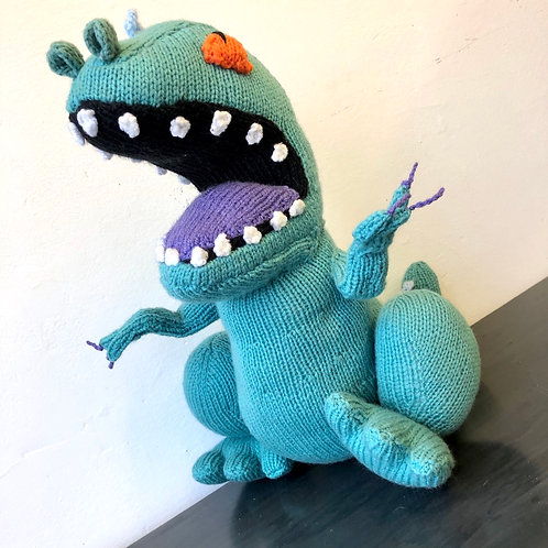 LARGE VINTAGE HAND KNITTED RUGRATS DOLL. Reptar the dinosaur