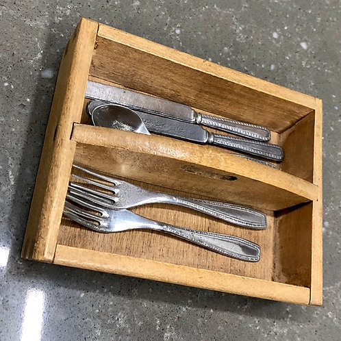 VINTAGE DOLL'S CUTLERY TRAY AND CUTLERY. Swiss made