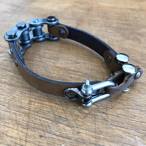 brown leather bracelet motorbike chain links