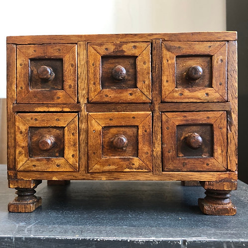 VINTAGE MINIATURE WOODEN SPICE DRAWERS CABINET