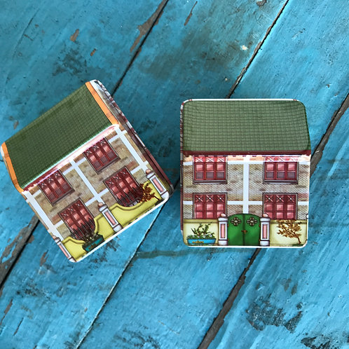 MINI HINGED PAINTED HOUSE SHAPED GIFT TIN