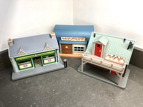 SET OF 3 VINTAGE DOLLHOUSE BUILDINGS