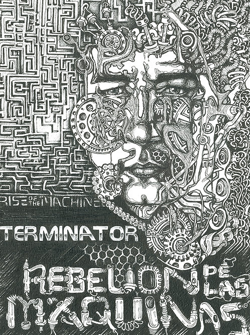 RISE OF THE MACHINE fineliner art print