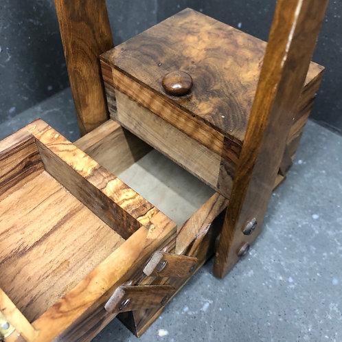 MINIATURE WALNUT CANTILEVER SEWING BOX