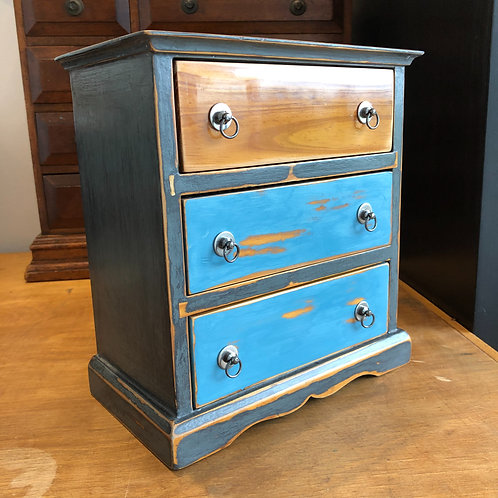 UPCYCLED MINI DRAWERS JEWELLERY BOX. Leather lined
