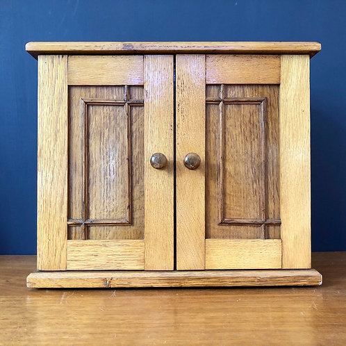 VINTAGE OAK JEWELLERY CABINET WITH DRAWERS