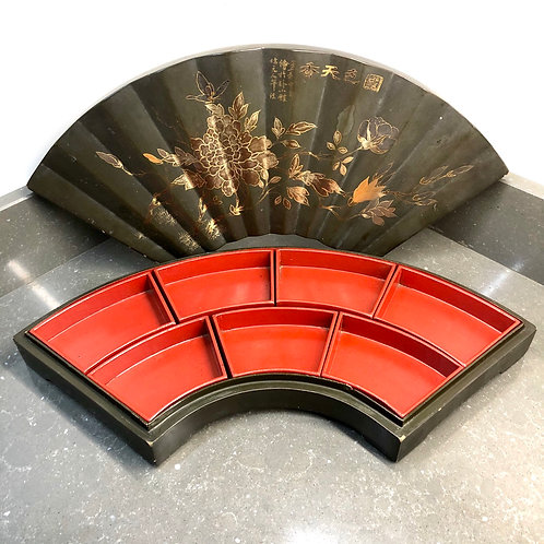 LARGE VINTAGE FAN SHAPED BOX WITH INSERTS
