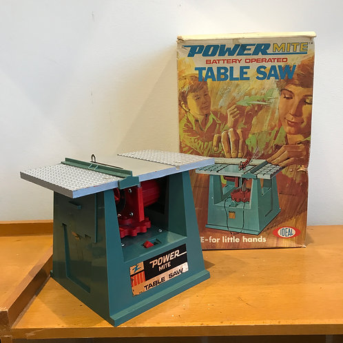 VINTAGE 1969 POWERMITE MINIATURE ELECTRIC TABLE SAW. Boxed