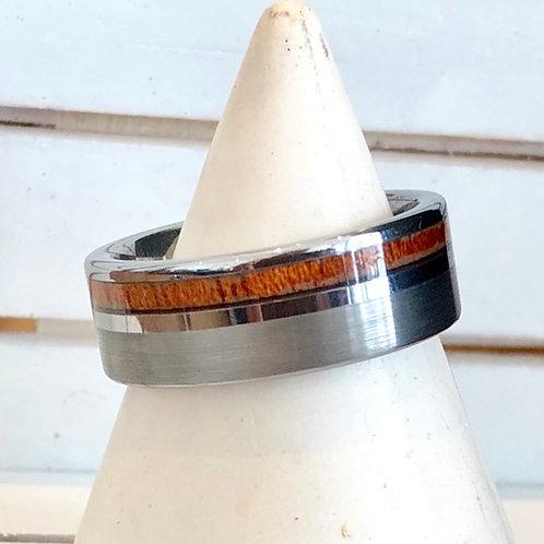 TITANIUM & WOOD INLAY RING. Sizes N & R