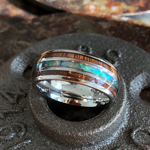 STAINLESS STEEL & WOOD INLAY BAND RING. Various sizes