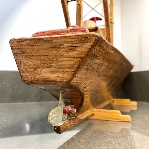 LARGE VINTAGE MATCHSTICK SAILING BOAT WITH ELECTRICS