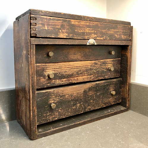 VINTAGE ENGINEER'S WOODEN TOOLBOX