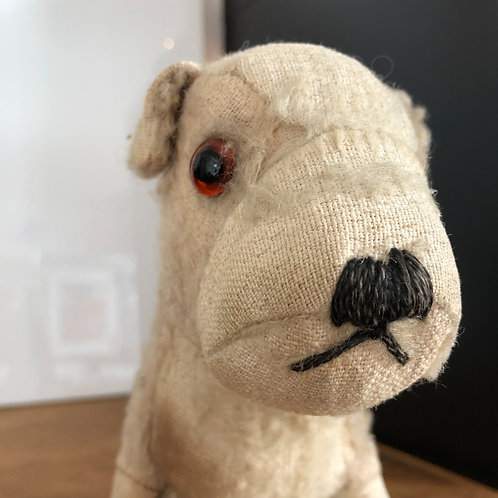 VINTAGE STUFFED LITTLE DOG in need of a new home