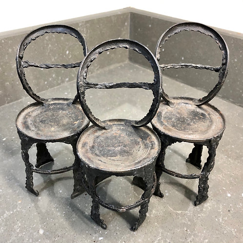 SET OF 3 VINTAGE PRIMITIVE TIN CAN DOLL CHAIRS