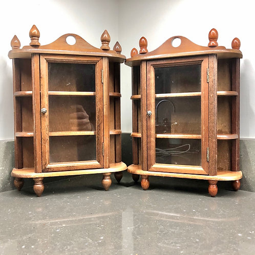PAIR OF VINTAGE STYLE MINIATURE GLASS DISPLAY CABINETS