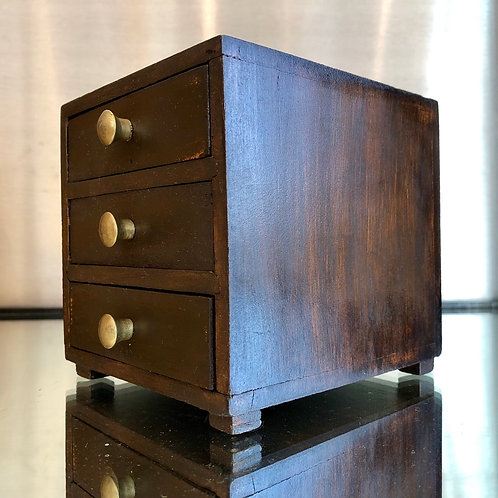 VINTAGE SMALL HARDWOOD AND BRASS DRAWERS