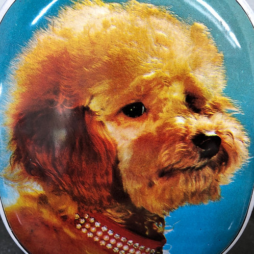 VINTAGE KITSCH 1960s SHARP TOFFEE TIN. PUPPY