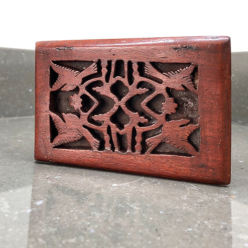 VINTAGE WOODEN BOX WITH MIRROR