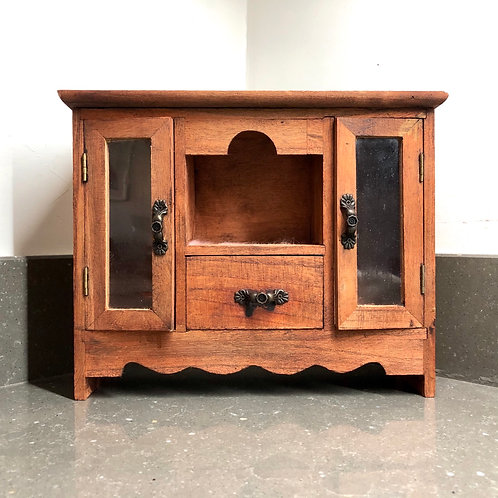 MINIATURE WOODEN DISPLAY CABINET WITH GLASS DOORS