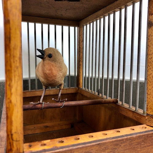 VINTAGE DECORATIVE WOODEN BIRD CAGE AND BIRD