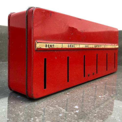 VINTAGE RED TIN CASH SAVINGS BOX