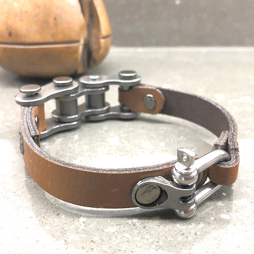 RECYCLED MOTORBIKE CHAIN AND LEATHER BRACELET large