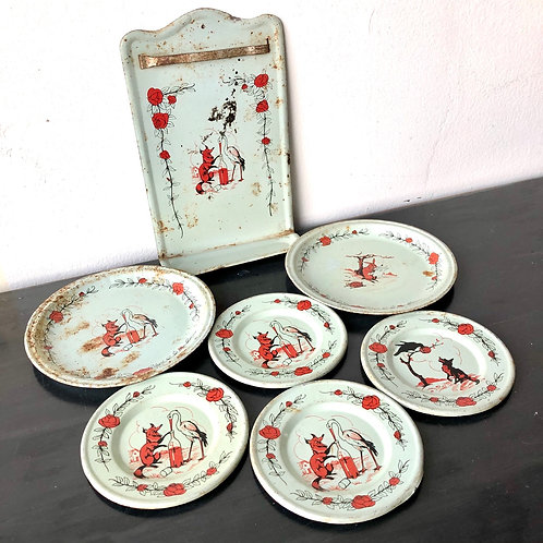 VINTAGE TINPLATE TEASET, FRENCH.  Aesops Fables c1920