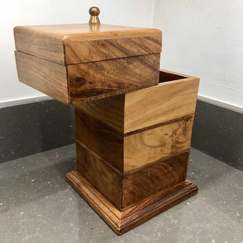 FOUR TIERED WOODEN SEWING BOX
