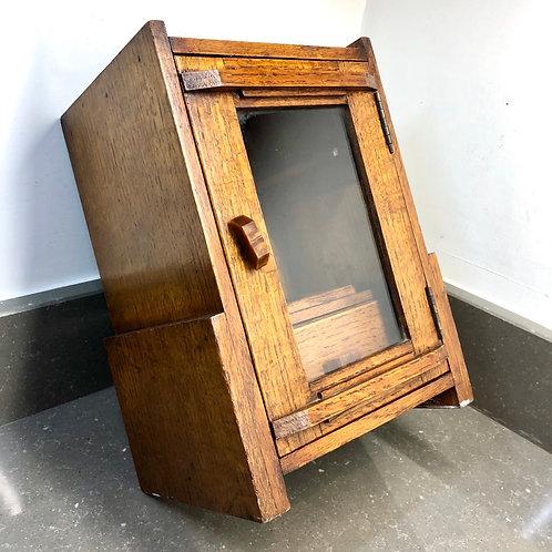 ART DECO OAK PIPE CABINET WITH GLASS DOOR