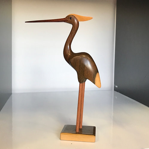 FEATHERS GALLERY CARVED WOODEN BIRD - Crane