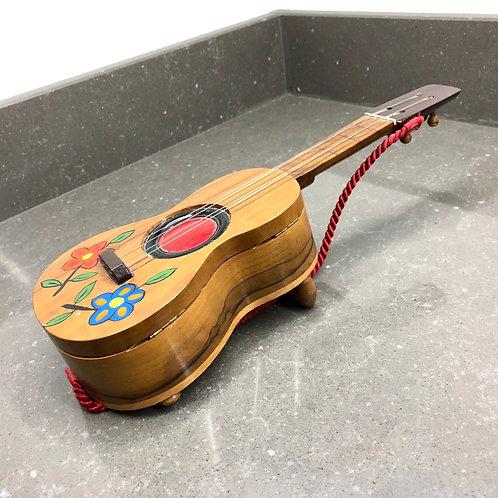 VINTAGE 1980s SPANISH SOUVENIR JEWELLERY BOX. Music box guitar