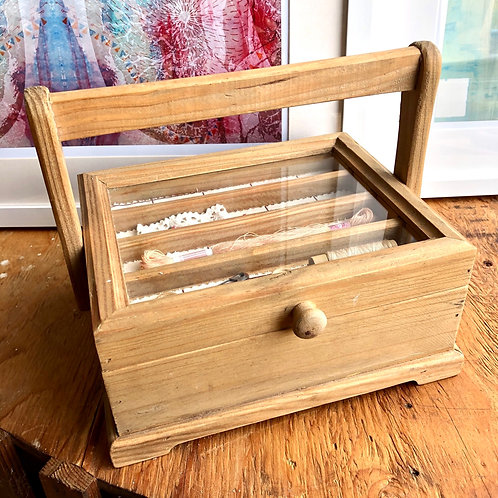 WOODEN SEWING BOX WITH DIORAMA LID