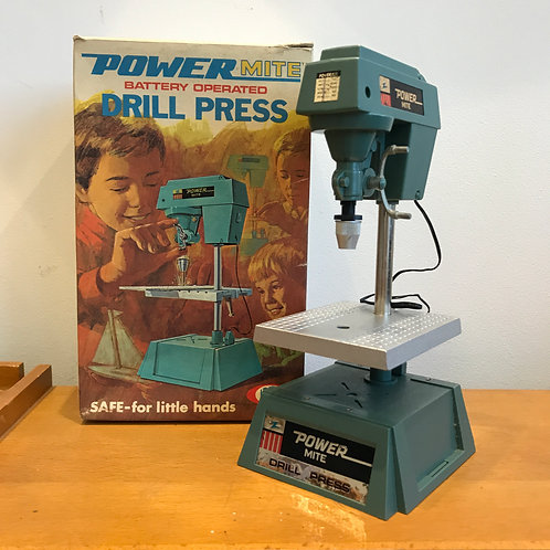 VINTAGE 1969 POWERMITE MINI ELECTRIC DRILL PRESS. Working